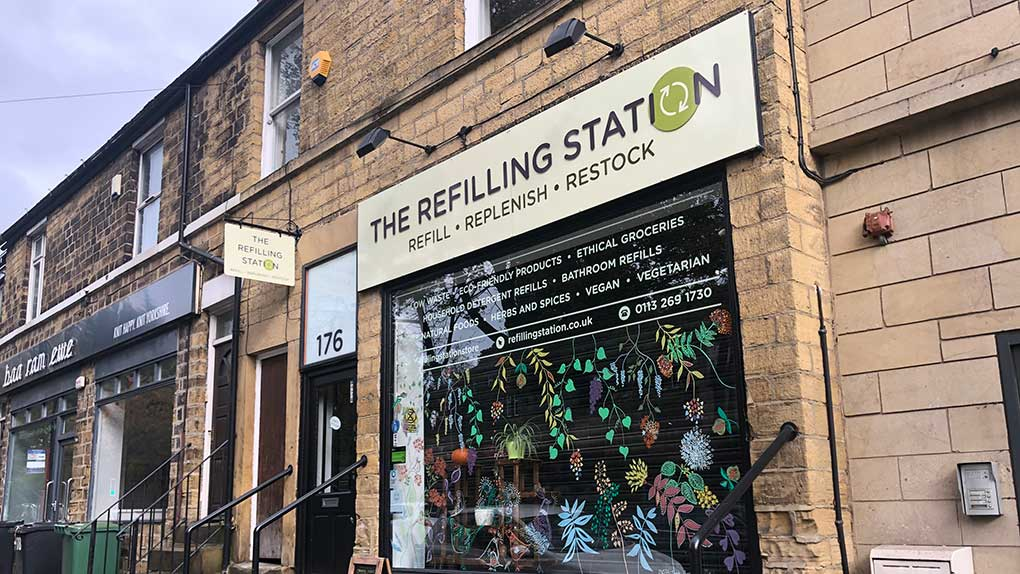 The Refilling Station Shop Front - Zero waste shopping in Leeds